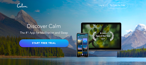 Discover calm app on desktop and mobile set against a lakeside mountain landscape