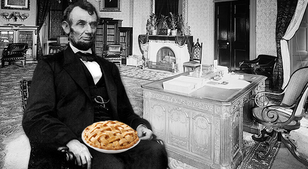 Abraham Lincoln with a pie image